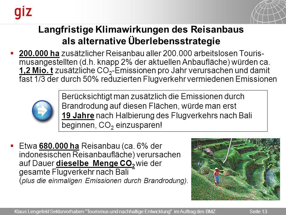 17.05.2014 Seite 13 Seite 13 Langfristige Klimawirkungen des Reisanbaus als alternative Überlebensstrategie 200.000 ha zusätzlicher Reisanbau aller 20