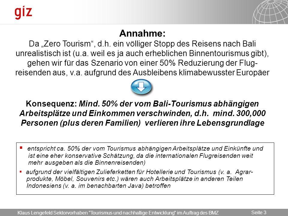 17.05.2014 Seite 3 Seite 3 Annahme: Da Zero Tourism, d.h. ein völliger Stopp des Reisens nach Bali unrealistisch ist (u.a. weil es ja auch erheblichen