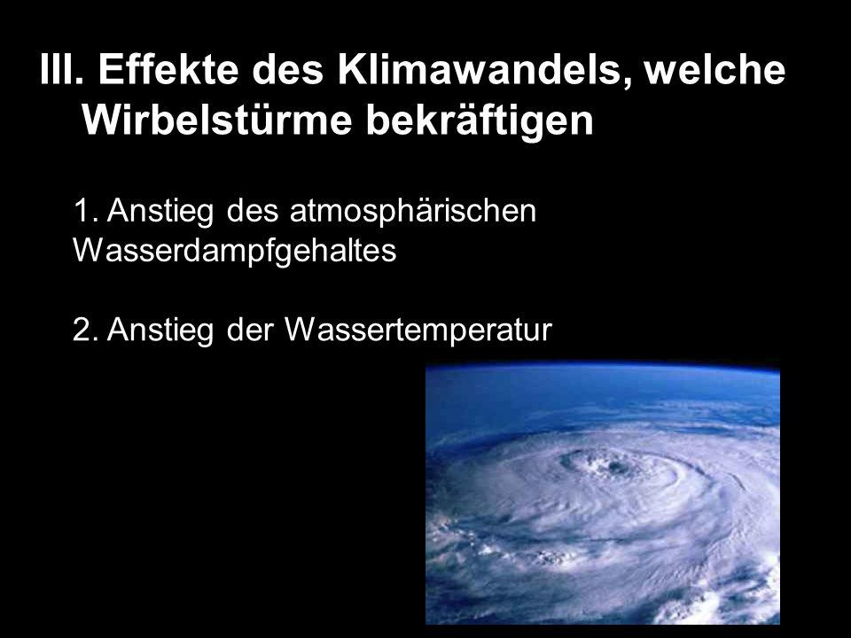 III. Effekte des Klimawandels, welche Wirbelstürme bekräftigen 1. Anstieg des atmosphärischen Wasserdampfgehaltes 2. Anstieg der Wassertemperatur