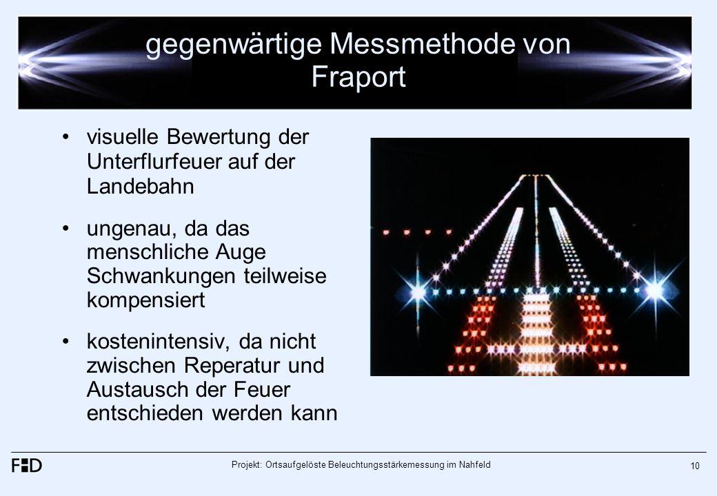 Projekt: Ortsaufgelöste Beleuchtungsstärkemessung im Nahfeld 10 gegenwärtige Messmethode von Fraport visuelle Bewertung der Unterflurfeuer auf der Lan