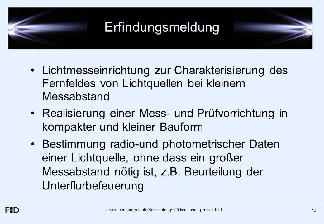 Projekt: Ortsaufgelöste Beleuchtungsstärkemessung im Nahfeld 13 Erfindungsmeldung Lichtmesseinrichtung zur Charakterisierung des Fernfeldes von Lichtq