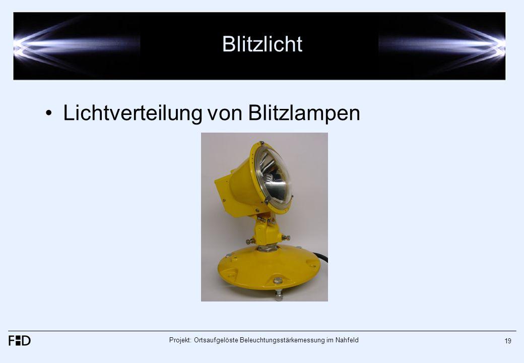 Projekt: Ortsaufgelöste Beleuchtungsstärkemessung im Nahfeld 19 Blitzlicht Lichtverteilung von Blitzlampen