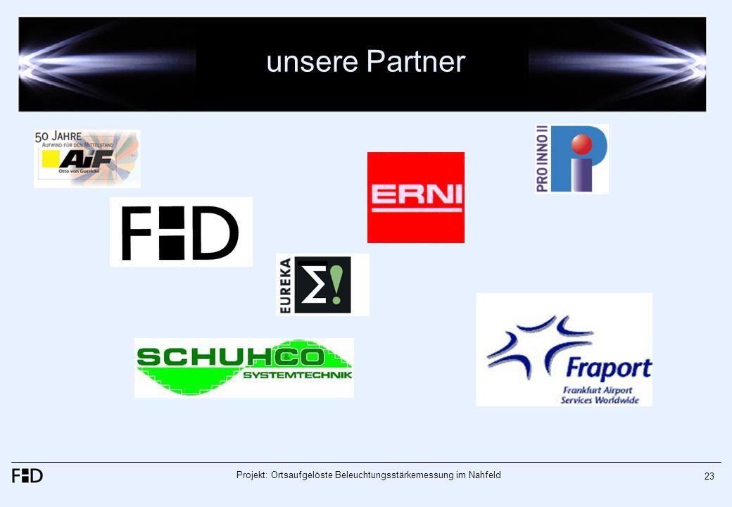 Projekt: Ortsaufgelöste Beleuchtungsstärkemessung im Nahfeld 23 unsere Partner