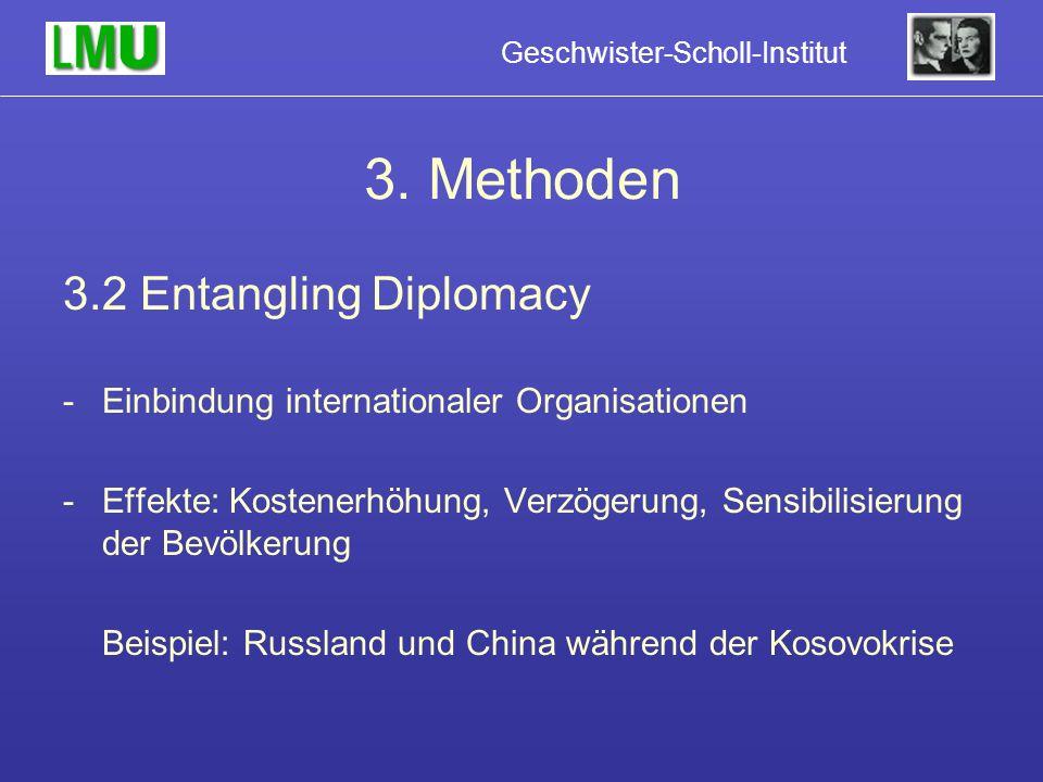 3. Methoden 3.2 Entangling Diplomacy -Einbindung internationaler Organisationen -Effekte: Kostenerhöhung, Verzögerung, Sensibilisierung der Bevölkerun