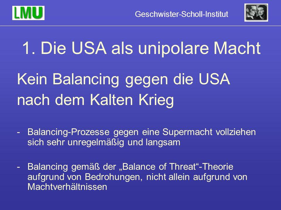 1. Die USA als unipolare Macht Kein Balancing gegen die USA nach dem Kalten Krieg -Balancing-Prozesse gegen eine Supermacht vollziehen sich sehr unreg