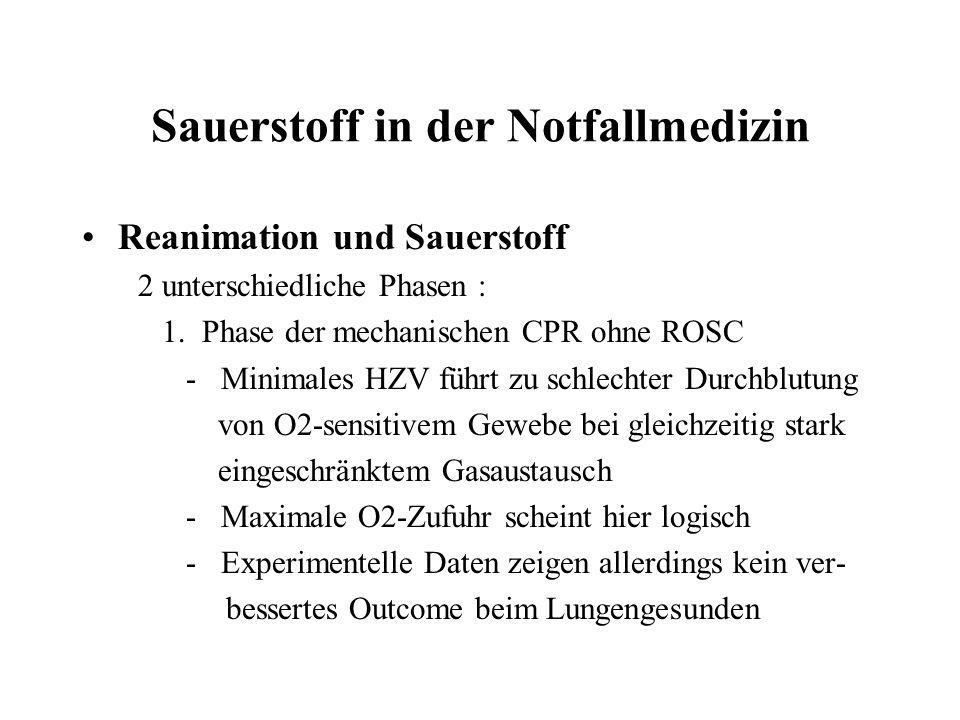 Sauerstoff in der Notfallmedizin Reanimation und Sauerstoff 2 unterschiedliche Phasen : 1.