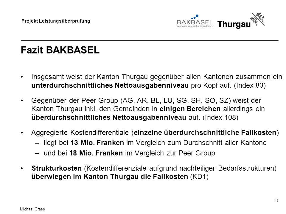 Projekt Leistungsüberprüfung Fazit BAKBASEL Insgesamt weist der Kanton Thurgau gegenüber allen Kantonen zusammen ein unterdurchschnittliches Nettoausgabenniveau pro Kopf auf.