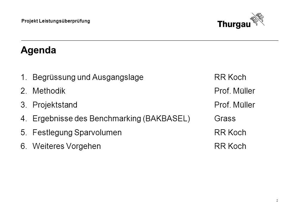 Projekt Leistungsüberprüfung 2 Agenda 1.Begrüssung und AusgangslageRR Koch 2.MethodikProf.