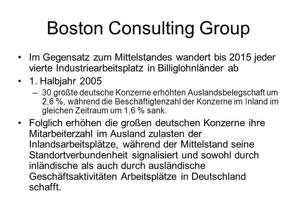 Boston Consulting Group Im Gegensatz zum Mittelstandes wandert bis 2015 jeder vierte Industriearbeitsplatz in Billiglohnländer ab 1.