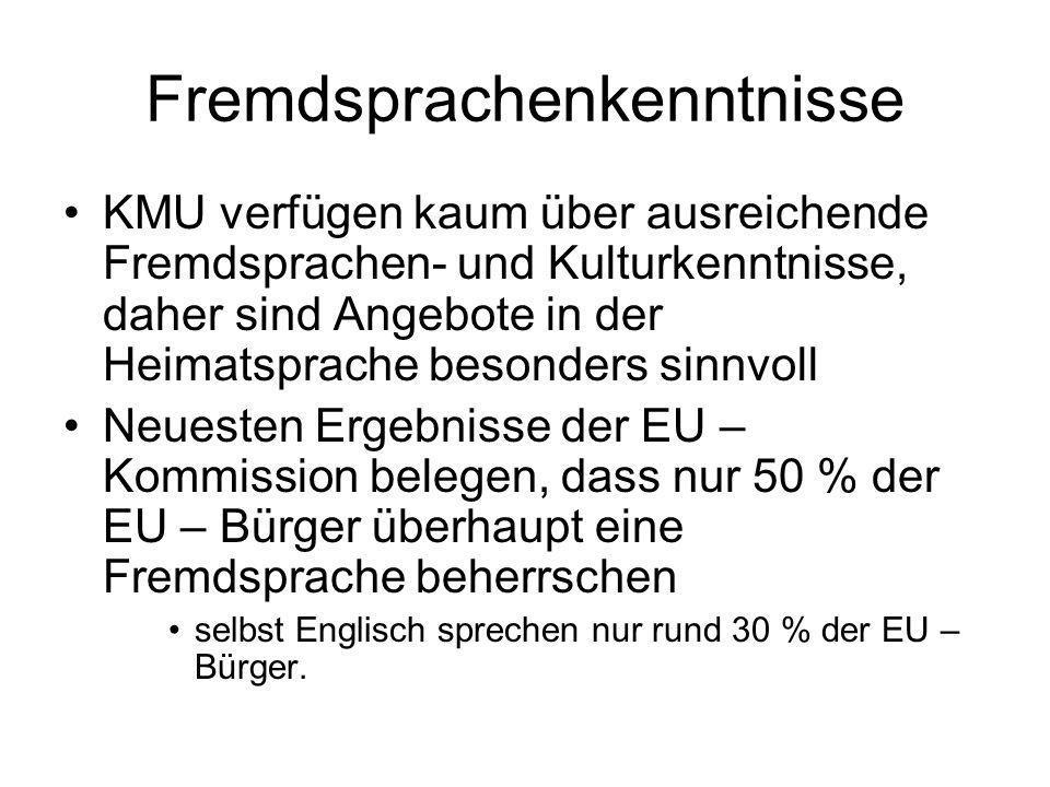 Fremdsprachenkenntnisse KMU verfügen kaum über ausreichende Fremdsprachen- und Kulturkenntnisse, daher sind Angebote in der Heimatsprache besonders sinnvoll Neuesten Ergebnisse der EU – Kommission belegen, dass nur 50 % der EU – Bürger überhaupt eine Fremdsprache beherrschen selbst Englisch sprechen nur rund 30 % der EU – Bürger.