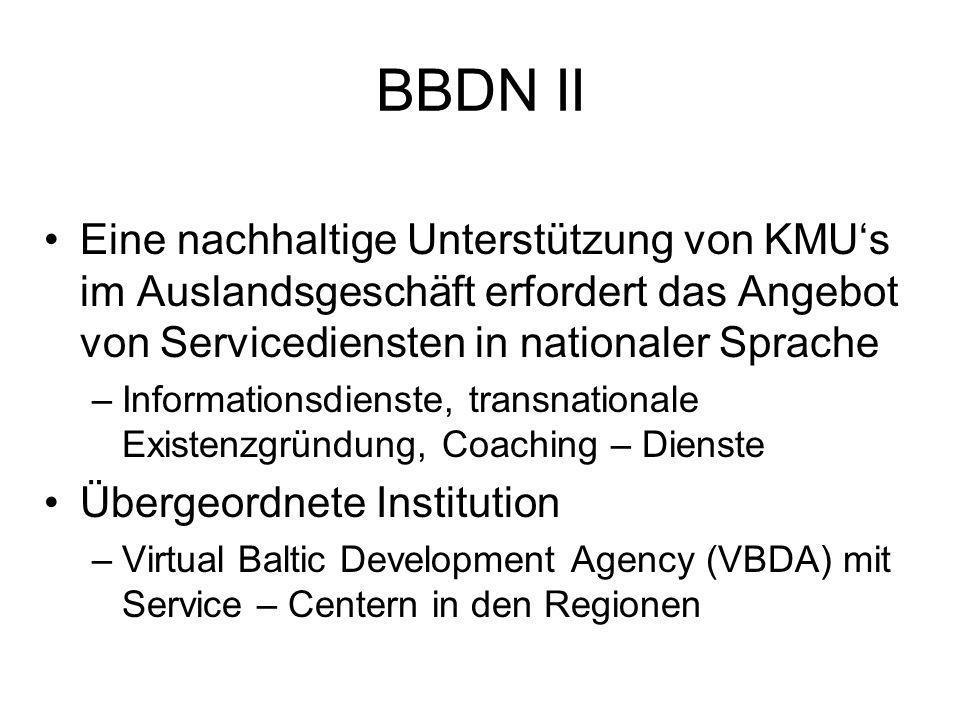 BBDN II Eine nachhaltige Unterstützung von KMUs im Auslandsgeschäft erfordert das Angebot von Servicediensten in nationaler Sprache –Informationsdienste, transnationale Existenzgründung, Coaching – Dienste Übergeordnete Institution –Virtual Baltic Development Agency (VBDA) mit Service – Centern in den Regionen