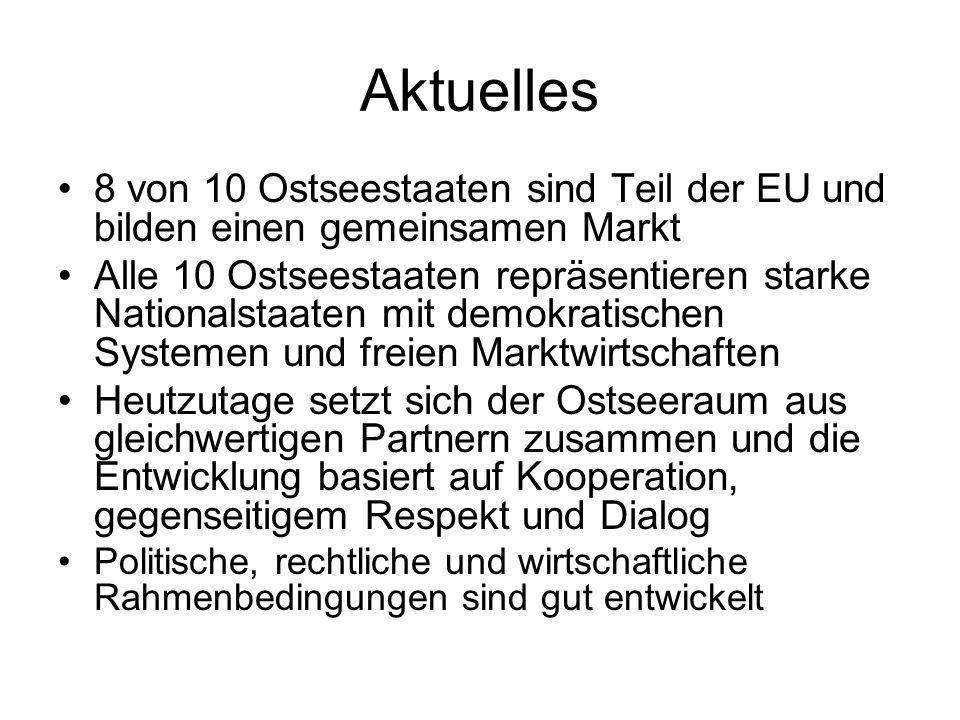 Aktuelles 8 von 10 Ostseestaaten sind Teil der EU und bilden einen gemeinsamen Markt Alle 10 Ostseestaaten repräsentieren starke Nationalstaaten mit demokratischen Systemen und freien Marktwirtschaften Heutzutage setzt sich der Ostseeraum aus gleichwertigen Partnern zusammen und die Entwicklung basiert auf Kooperation, gegenseitigem Respekt und Dialog Politische, rechtliche und wirtschaftliche Rahmenbedingungen sind gut entwickelt