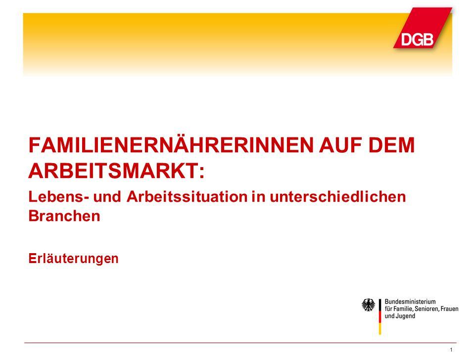 Gliederung Einleitung Einkommenssituation von abhängig beschäftigten Frauen in Deutschland Familienernährerinnen im Öffentlichen Dienst Umfang der Erwerbstätigkeit von Familienernährerinnen Durchschnittlicher Brutto-Stundenlohn von Familienernährerinnen Familienernährerinnen mit Kindern unter 16 Jahren