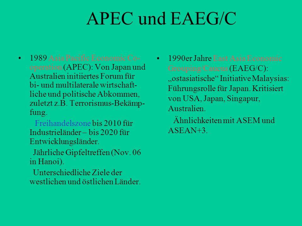 APEC und EAEG/C 1989 Asia Pacific Economic Co- operation (APEC): Von Japan und Australien initiiertes Forum für bi- und multilaterale wirtschaft- lich