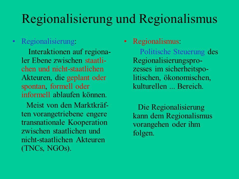 Regionalisierung und Regionalismus Regionalisierung: Interaktionen auf regiona- ler Ebene zwischen staatli- chen und nicht-staatlichen Akteuren, die g
