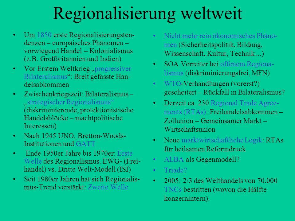 Regionalisierung weltweit Um 1850 erste Regionalisierungsten- denzen – europäisches Phänomen – vorwiegend Handel – Kolonialismus (z.B. Großbritannien