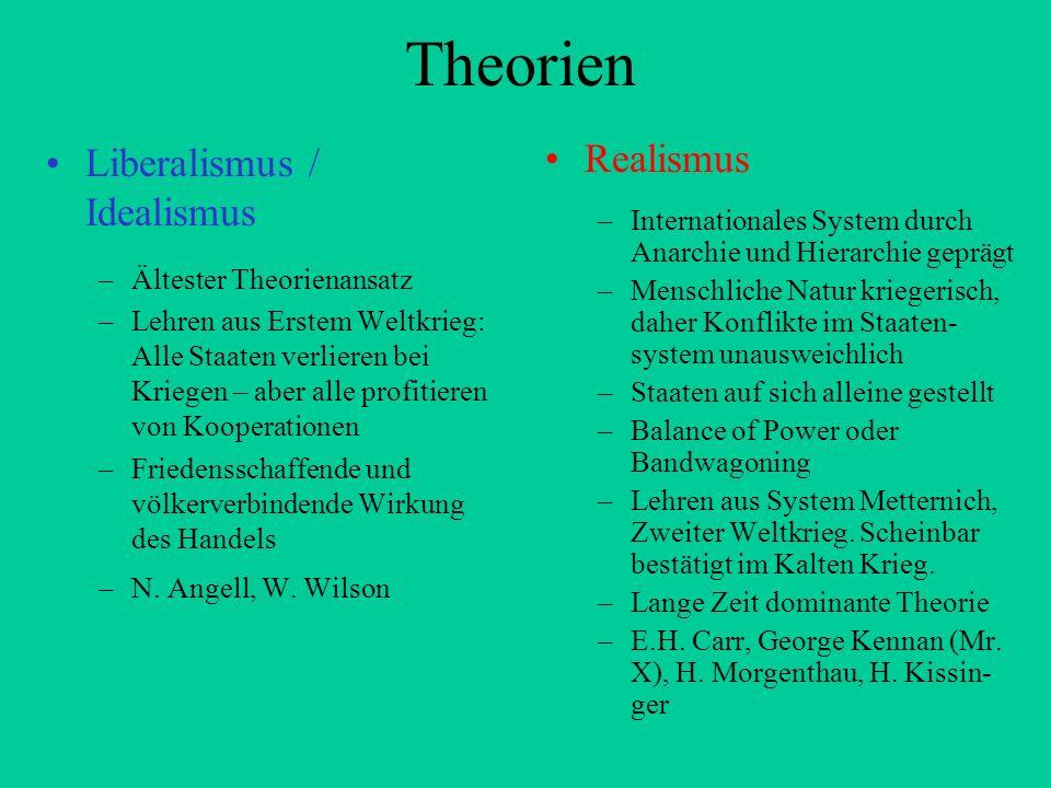 Theorien Liberalismus / Idealismus –Ältester Theorienansatz –Lehren aus Erstem Weltkrieg: Alle Staaten verlieren bei Kriegen – aber alle profitieren v