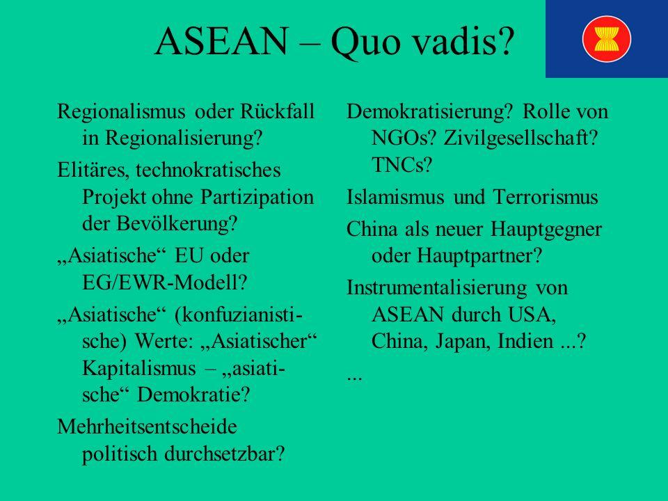 ASEAN – Quo vadis? Regionalismus oder Rückfall in Regionalisierung? Elitäres, technokratisches Projekt ohne Partizipation der Bevölkerung? Asiatische