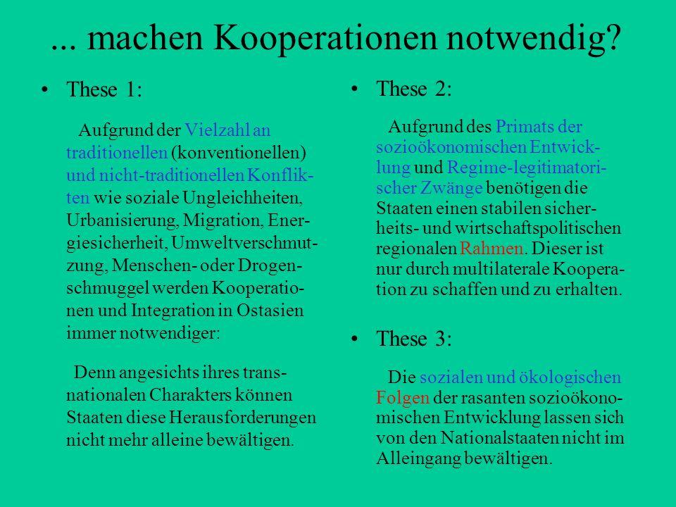 ... machen Kooperationen notwendig? These 1: Aufgrund der Vielzahl an traditionellen (konventionellen) und nicht-traditionellen Konflik- ten wie sozia