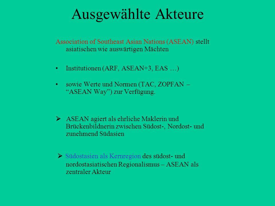 Ausgewählte Akteure Association of Southeast Asian Nations (ASEAN) stellt asiatischen wie auswärtigen Mächten Institutionen (ARF, ASEAN+3, EAS …) sowi