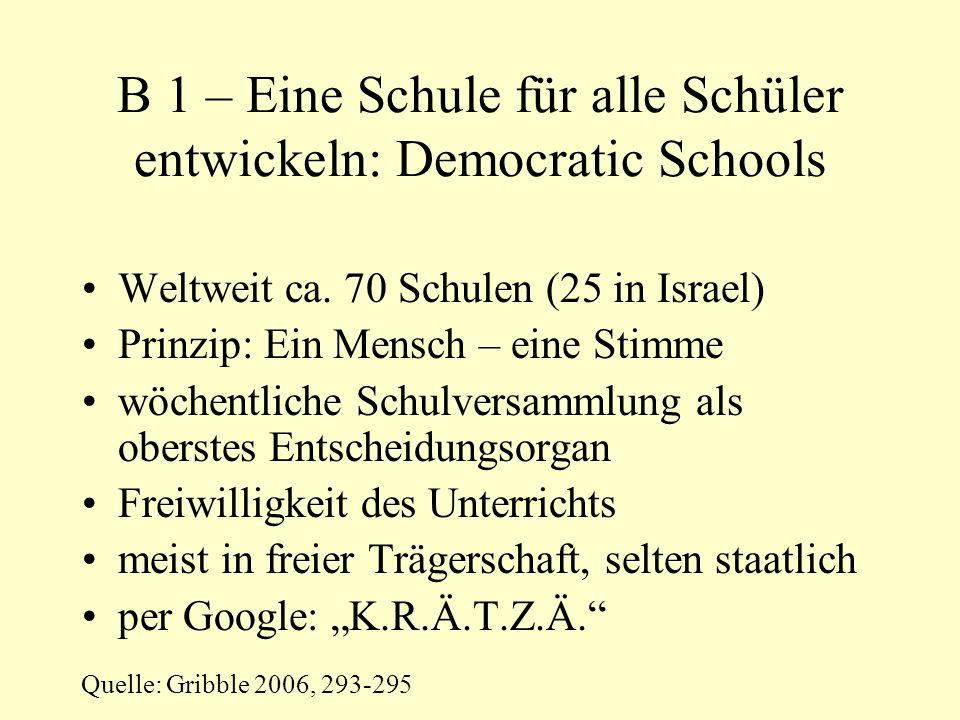 B 1 – Eine Schule für alle Schüler entwickeln: Democratic Schools Weltweit ca.