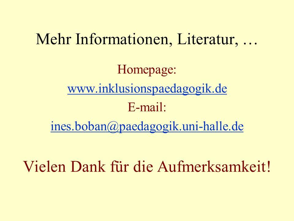 Mehr Informationen, Literatur, … Homepage: www.inklusionspaedagogik.deinklusionspaedagogik.de E-mail: ines.boban@paedagogik.uni-halle.de Vielen Dank für die Aufmerksamkeit!