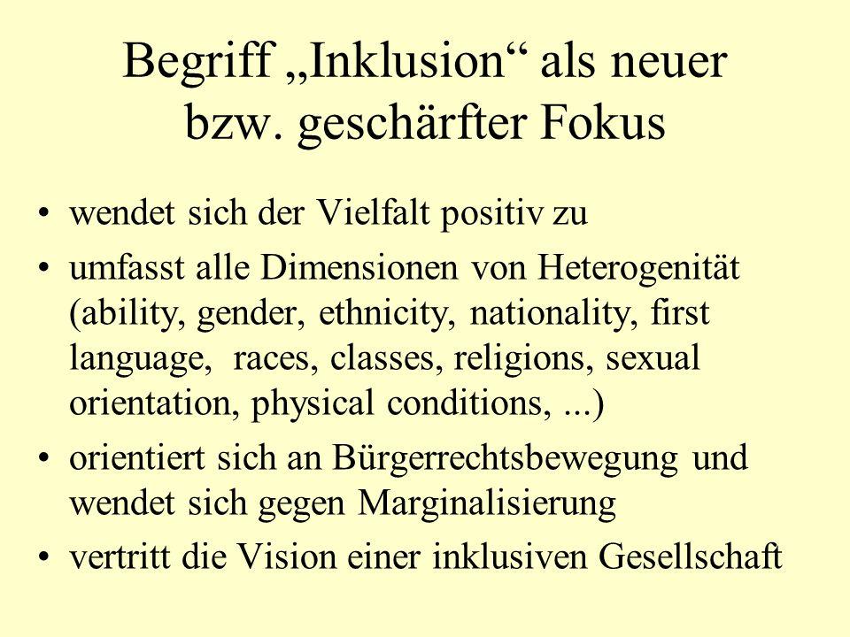 Begriff Inklusion als neuer bzw.