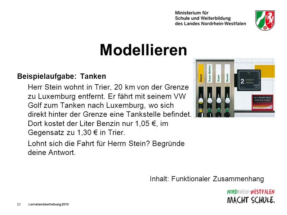 Lernstandserhebung 201020 Modellieren Beispielaufgabe: Tanken Herr Stein wohnt in Trier, 20 km von der Grenze zu Luxemburg entfernt. Er fährt mit sein