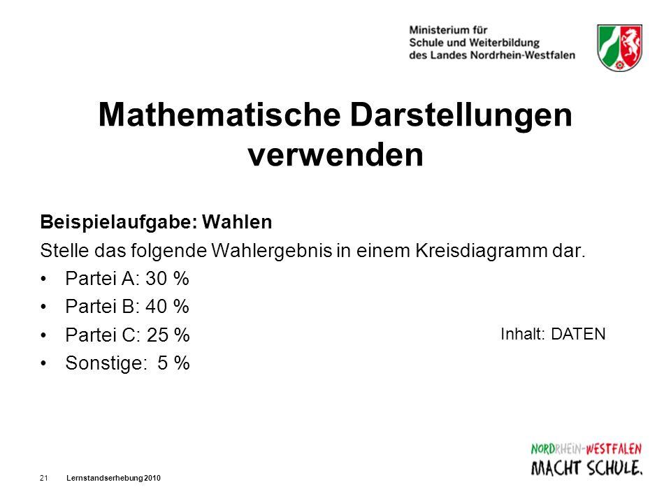 Lernstandserhebung 201021 Mathematische Darstellungen verwenden Beispielaufgabe: Wahlen Stelle das folgende Wahlergebnis in einem Kreisdiagramm dar. P