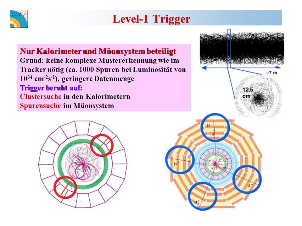 Level-1 Trigger Nur Kalorimeter und Müonsystem beteiligt Grund: keine komplexe Mustererkennung wie im Tracker nötig (ca.