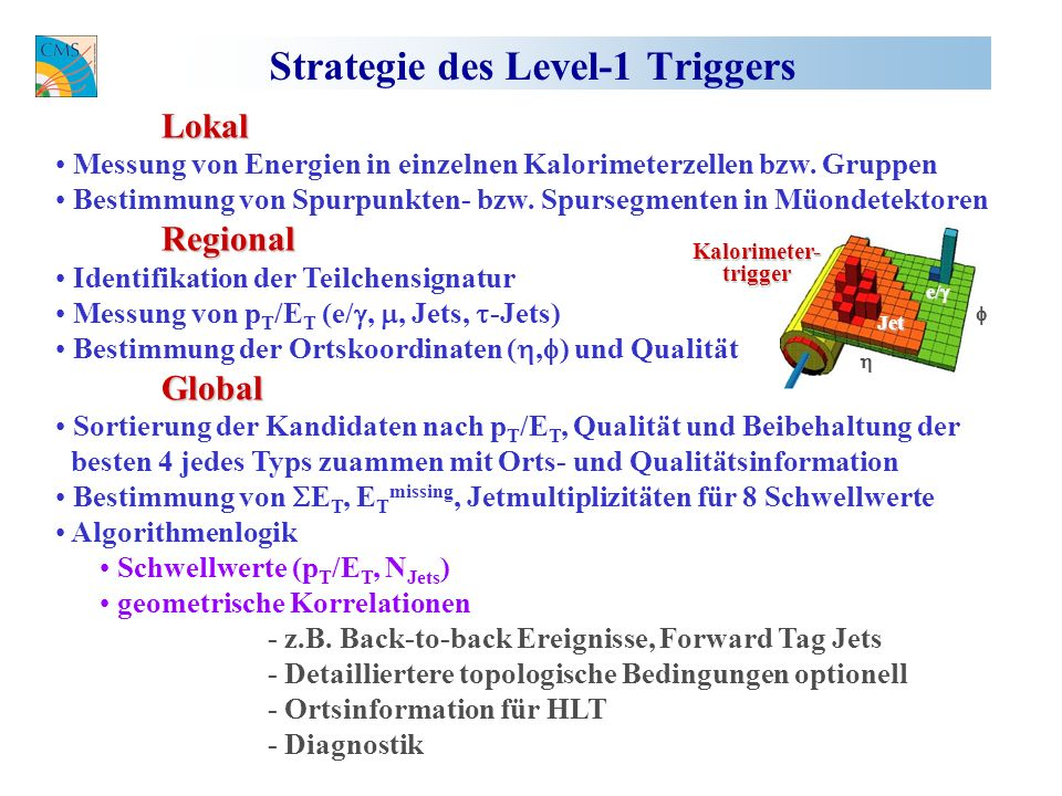 Strategie des Level-1 Triggers Lokal Messung von Energien in einzelnen Kalorimeterzellen bzw.