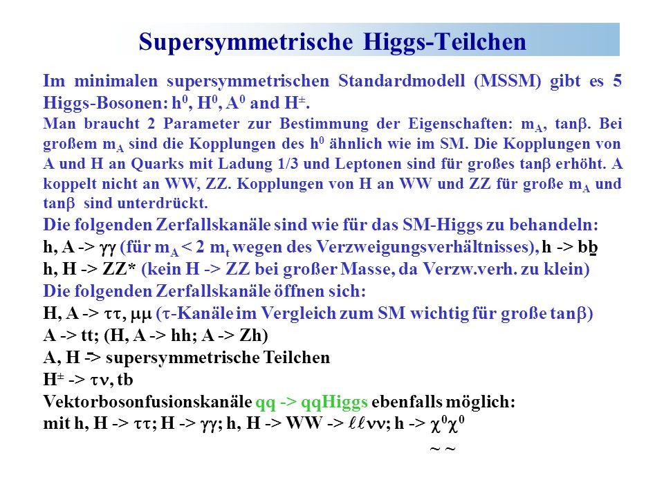 Supersymmetrische Higgs-Teilchen Im minimalen supersymmetrischen Standardmodell (MSSM) gibt es 5 Higgs-Bosonen: h 0, H 0, A 0 and H ±.