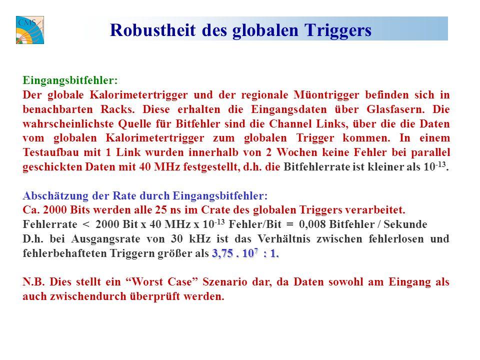 Robustheit des globalen Triggers Eingangsbitfehler: Der globale Kalorimetertrigger und der regionale Müontrigger befinden sich in benachbarten Racks.