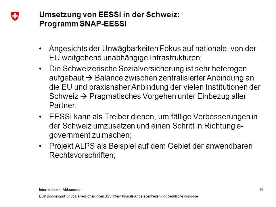 14 Internationale Abkommen EDI/ Bundesamt für Sozialversicherungen BSV/Internationale Angelegenheiten und berufliche Vorsorge Umsetzung von EESSI in d