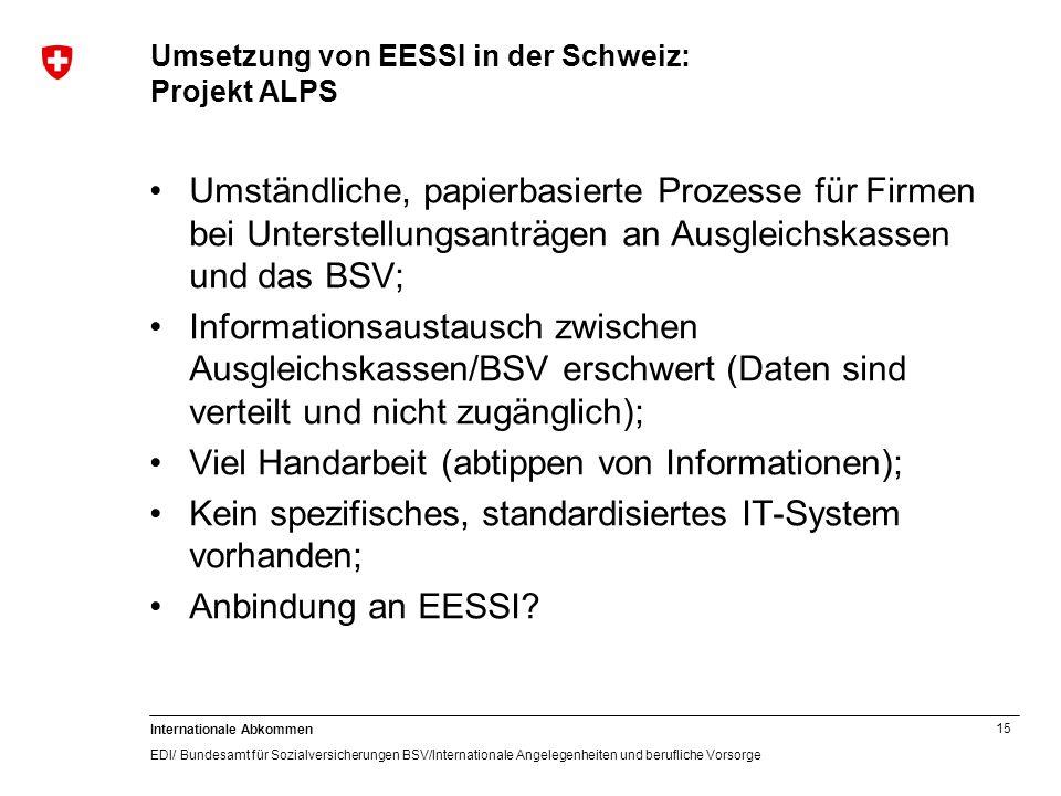 15 Internationale Abkommen EDI/ Bundesamt für Sozialversicherungen BSV/Internationale Angelegenheiten und berufliche Vorsorge Umsetzung von EESSI in d