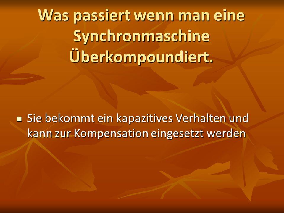 Was passiert wenn man eine Synchronmaschine Überkompoundiert. Sie bekommt ein kapazitives Verhalten und kann zur Kompensation eingesetzt werden Sie be