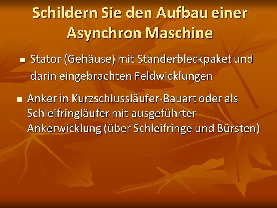 Schildern Sie den Aufbau einer Asynchron Maschine Stator (Gehäuse) mit Ständerbleckpaket und darin eingebrachten Feldwicklungen Stator (Gehäuse) mit S
