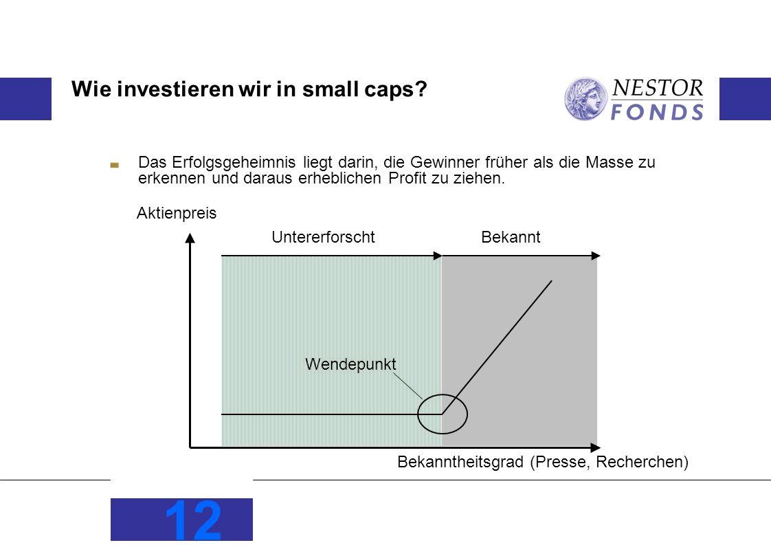12 Wie investieren wir in small caps? Das Erfolgsgeheimnis liegt darin, die Gewinner früher als die Masse zu erkennen und daraus erheblichen Profit zu