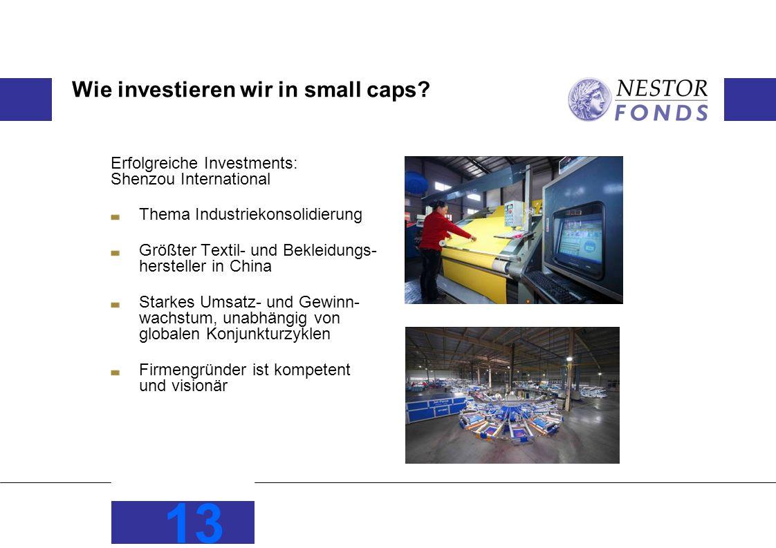 13 Wie investieren wir in small caps? Erfolgreiche Investments: Shenzou International Thema Industriekonsolidierung Größter Textil- und Bekleidungs- h