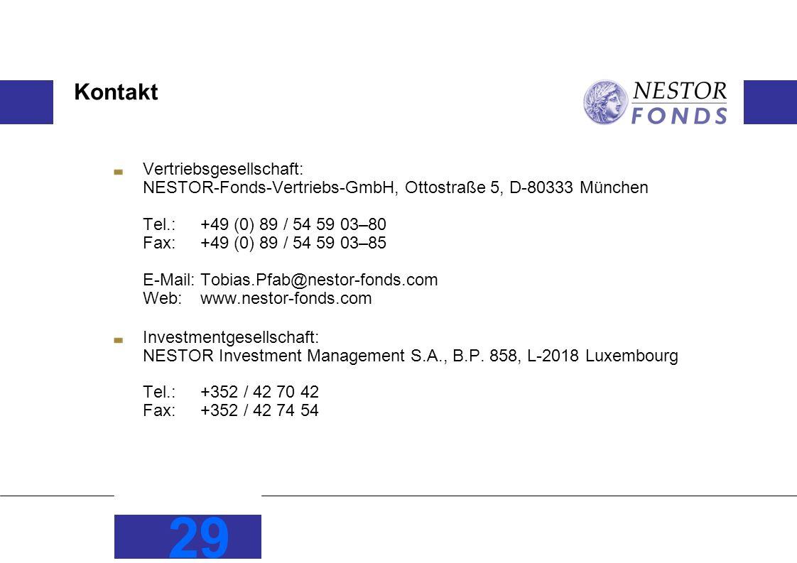 29 Kontakt Vertriebsgesellschaft: NESTOR-Fonds-Vertriebs-GmbH, Ottostraße 5, D-80333 München Tel.: +49 (0) 89 / 54 59 03–80 Fax:+49 (0) 89 / 54 59 03–