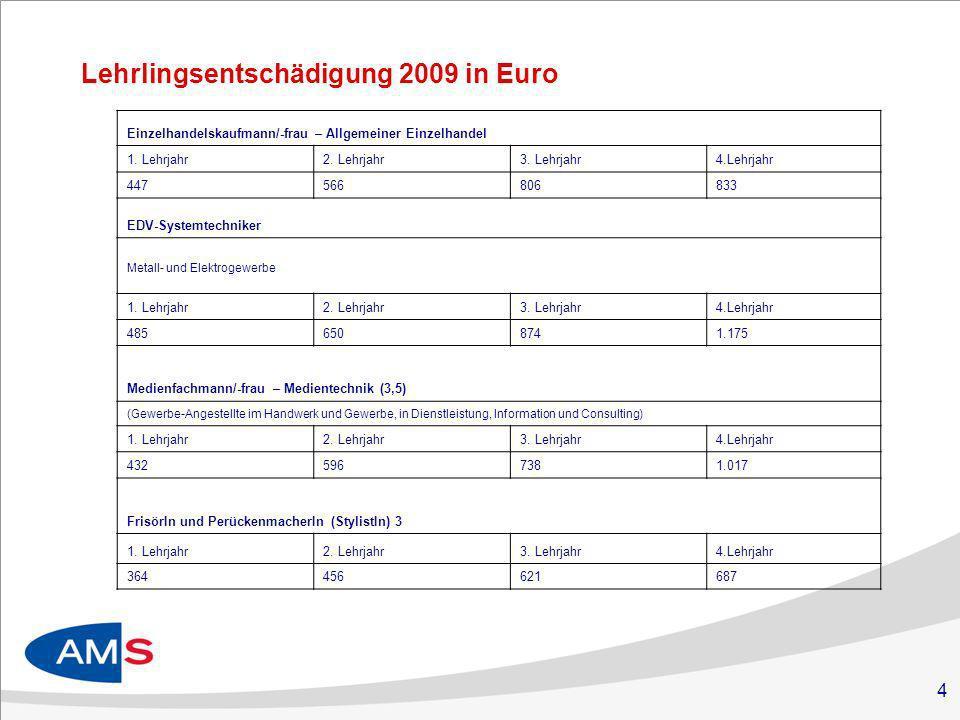 4 Lehrlingsentschädigung 2009 in Euro Einzelhandelskaufmann/-frau – Allgemeiner Einzelhandel 1.
