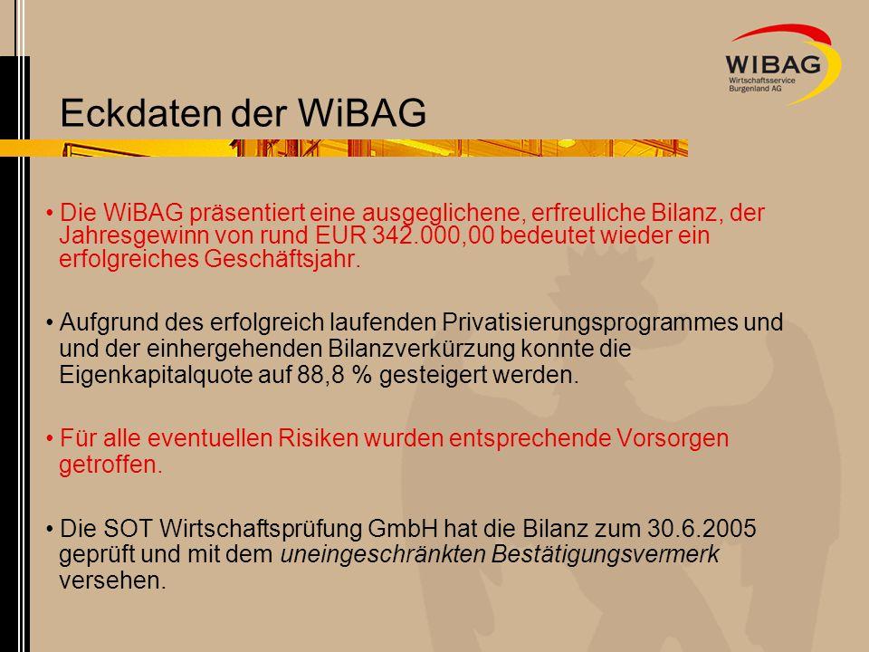 WiBAG Bilanz 2004/2005 in Mio.EUR 65,44 UV 9,58 66,59 8,43 0 10 20 30 40 50 60 70 80 90 in Mio.