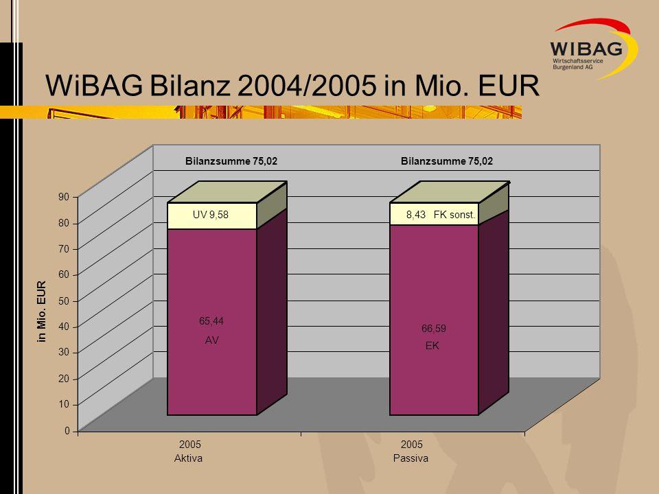 WiBAG Bilanz 2004/2005 in Mio. EUR 65,44 UV 9,58 66,59 8,43 0 10 20 30 40 50 60 70 80 90 in Mio. EUR 2005 Aktiva 2005 Passiva Bilanzsumme 75,02 AV EK
