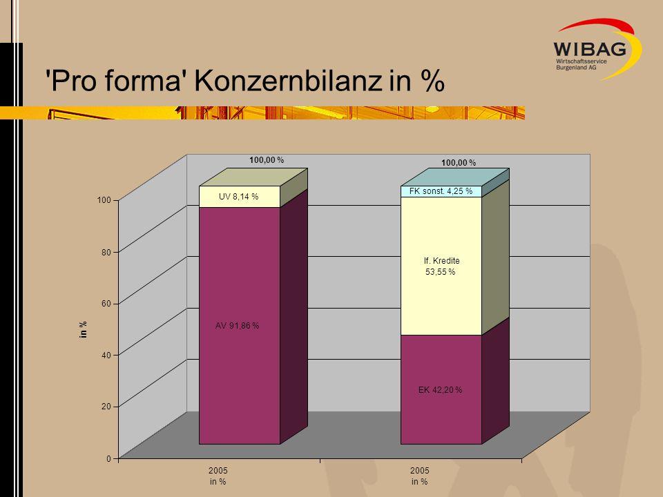 'Pro forma' Konzernbilanz in % AV 91,86 % UV 8,14 % EK 42,20 % lf. Kredite 53,55 % FK sonst. 4,25 % 0 20 40 60 80 100 in % 2005 in % 2005 in % 100,00