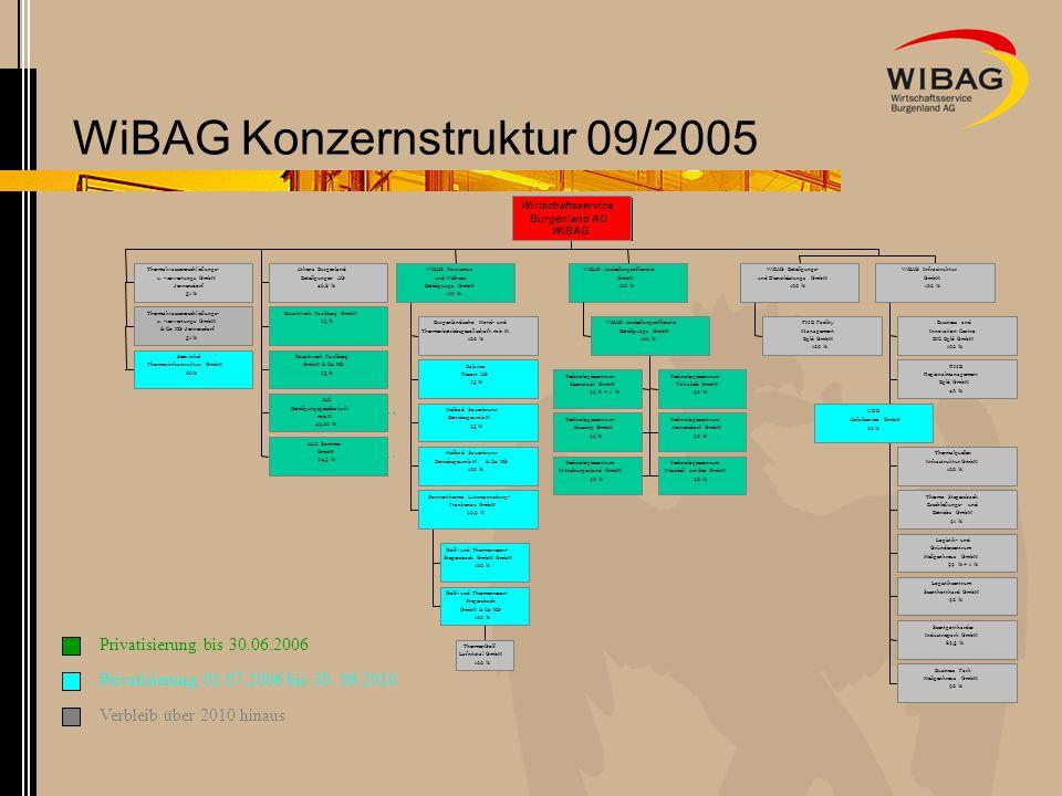 WiBAG Konzernstruktur 09/2005 Thermalwassererschließungs- u. -verwertungs GmbH Jennersdorf 51 % Thermalwassererschließungs- u. -verwertungs GmbH & Co