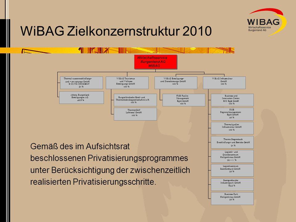 WiBAG Zielkonzernstruktur 2010 Thermalwassererschließungs- und –verwertungs GmbH & Co KG Jennersdorf 51 % Athena Burgenland Beteiligungen AG 46,8 % Bu