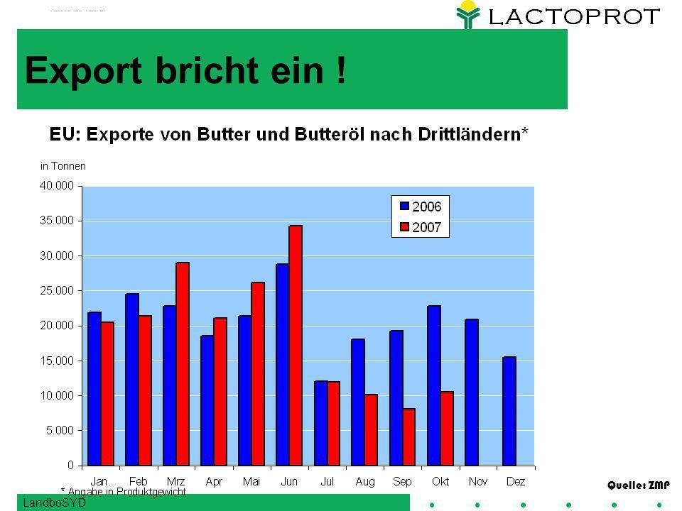 LandboSYD Export bricht ein ! Quelle: ZMP