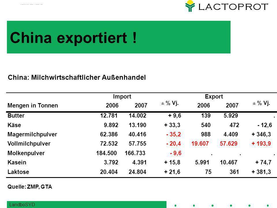 LandboSYD China exportiert .