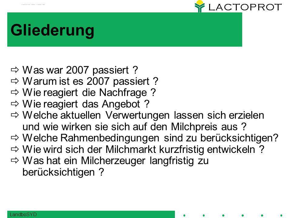 LandboSYD Starker Anstieg der Weltmarktpreise 2007 Magermilchpulver Butter 500 1.000 1.500 2.000 2.500 3.000 3.500 4.000 4.500 5.000 5.500 Jan 93Jan 96Jan 99Jan 02Jan 05Jan 08 US-Dollar/Tonne Magermilchpulver Butter