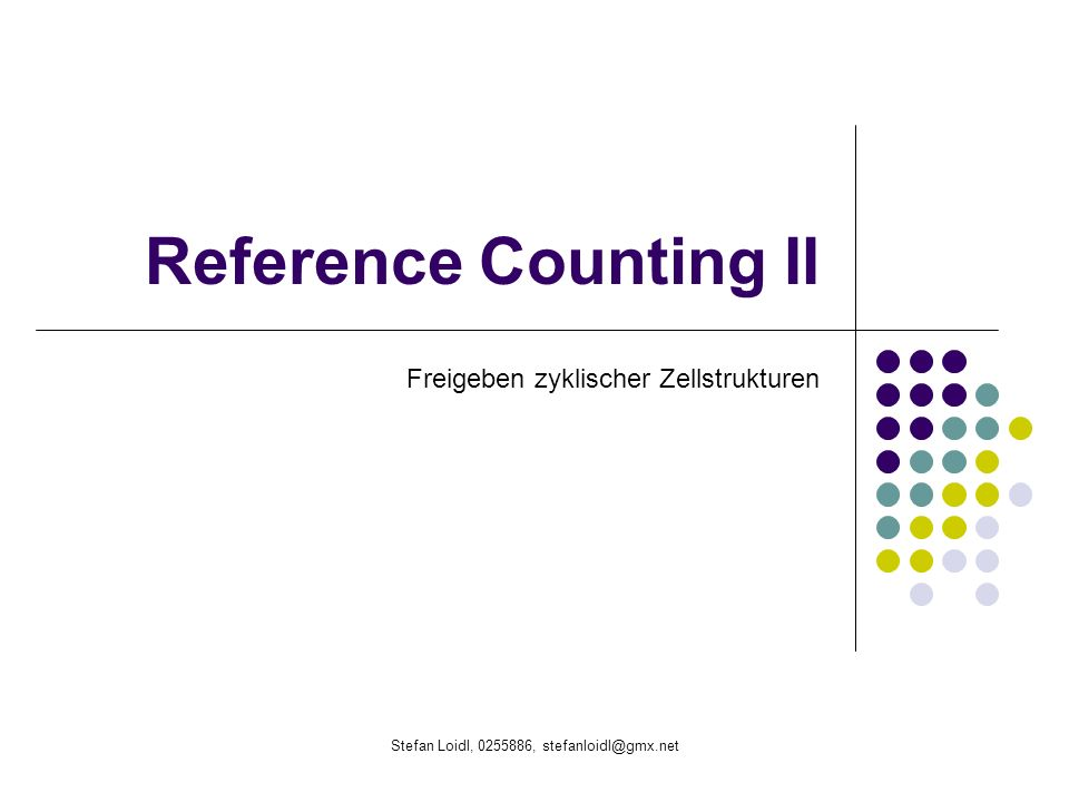Stefan Loidl, 0255886, stefanloidl@gmx.net Linss Algorithmus Lazy cyclic Reference Counting 1.